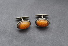 Solid silver & natural Amber cuff links, 1950's