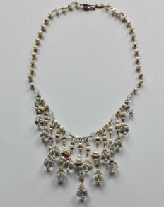 Antique 333/1000 gold necklace – with pearls and crystals – Italian craftsmanship (Florence)