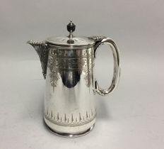 Silver plated coffeepot with engraved floral decoration, Walker & Hall, Sheffield, England, ca. 1910