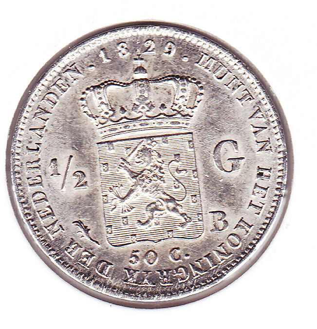 The Netherlands - ½ guilder 1829/23B (overstrike 1829 over 1823B) Willem I - Silver