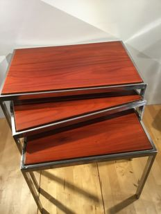 Unkown designer - Vintage two-sided side table set