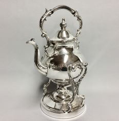 Silver plated kettle, on brazier, England, ca. 1950