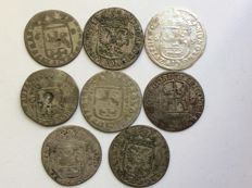 Provincial - Rijderschellingen of 6 stuiver 17th century 'Groningen, Nijmegen and Zutphen among others'  - (8 pieces) - silver