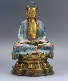 Meditatign Buddha in Cloisonné - China - 2nd half 20th century