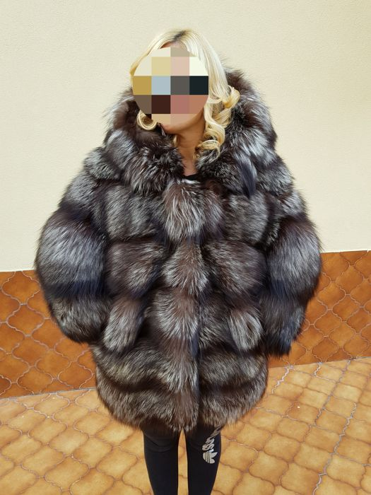 New Silver Fox Fur Coat