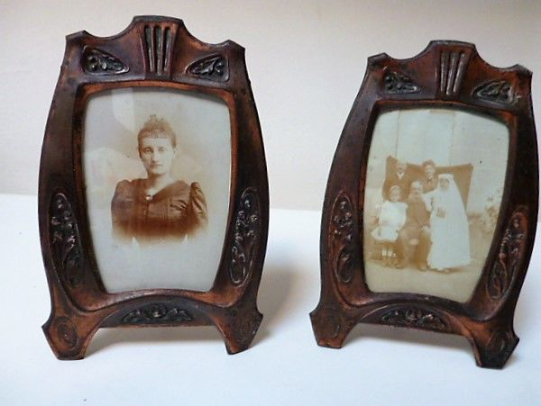 A set of Art Deco picture frames in copper