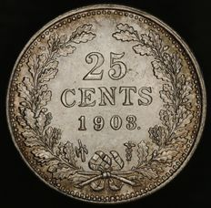 The Netherlands - 25 cents 1903  Wilhelmina - silver