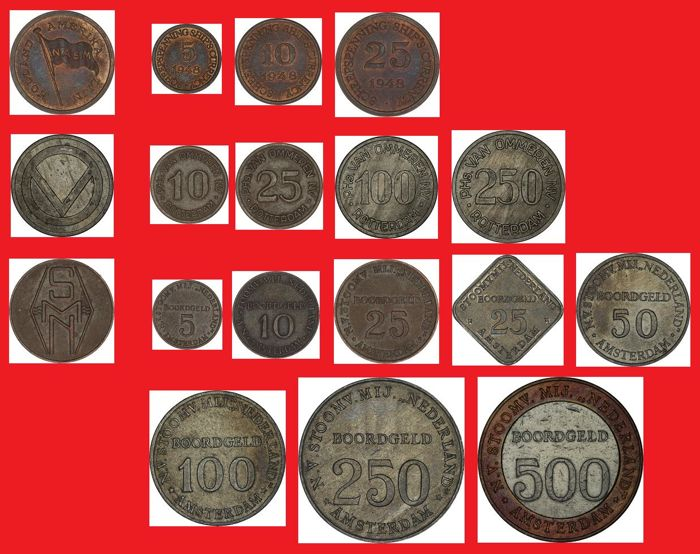 The Netherlands - Ship's currency 1947/1970 - HAL, van Ommeren and SMN (15 different ones), complete