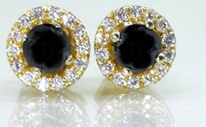 Day & Night stud earrings set with black diamonds & brilliants of 0.60 ct in total *** No minimum price***