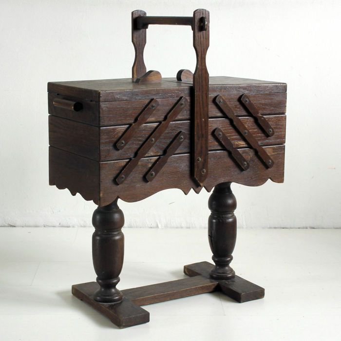 Wooden sewing box on legs, Netherlands, first half 20th century