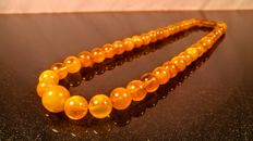 Vintage modified bead Amber necklace, 47 grams, ca. 1970's