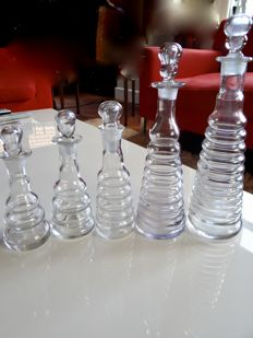 5 decanters, ringed, c. 1890