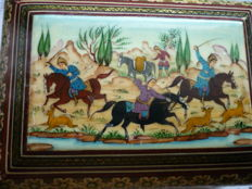Vintage, valuable wooden jewellery box, real oil painting, hunting scene