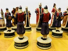Theme chess Hungarians vs. Turkish hand painted by Italfama