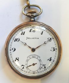 Helvetia - pocket watch with chain - Mænd - 1850-1900
