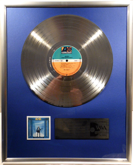 "AC/DC - Who made Who - 12"" German Atlantic Record platinum plated record by WWA Awards"
