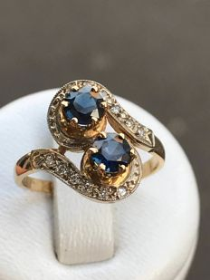 "Pretty ""Toi et Moi"" ring in gold, diamonds and sapphires for a total of 1.0 ct"