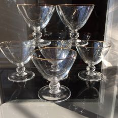 7 high quality crystal champagne glasses decorated with gold thread