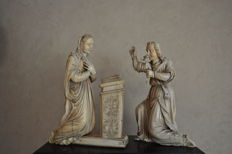 The Annunciation - Group in carved ivory - France, Dieppe - 17th century