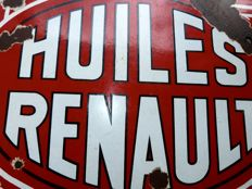 HUILES RENAULT old gas station - enamel sign -  France around 1932 !