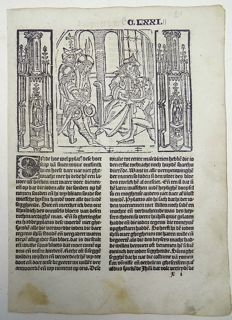 Master of Delft - Incunabula leaf from Vitae Christie - Christ before Pilate, arrested - original from 1488