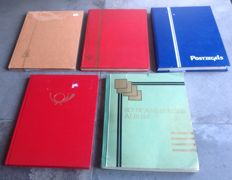 World - 4 stamp albums and 1 Schwaneberger album, a lot of German Reich territories