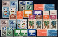 Europa Stamps 1957 - Colletion in three copies (3 x) on cards