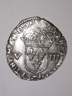 France - Louis XIII (1610-1643) - Eighth of an ecu with fleury cross 1617 T (Nantes) - silver