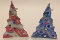 2x Christmas trees in Murano glass with Murrina beads