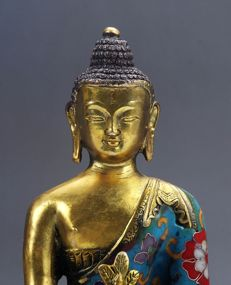 Medicine Buddha in cloisonné on lotus flower - China - 2nd half 20th century