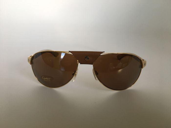 0917f425b4658 Cartier - Santos- Dumont wood Sunglasses - Catawiki