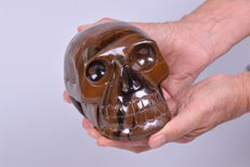 Beautiful XXL Tiger eye skull skull - 15 x 11 x 11 cm - 2.9 kg