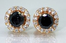 Day & Night stud earrings set with black diamonds & brilliants, 0.80 ct in total ***No minimum price***