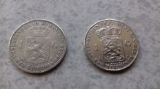 The Netherlands - 1 guilder 1897 and 1901 Wilhelmina - silver