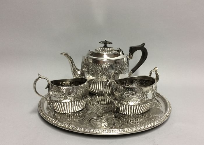 Antique silver plated tea set on a serving tray England ca. 1890 & Antique silver plated tea set on a serving tray England ca. 1890 ...