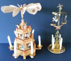 """Weihnachtspyramide"" (Christmas pyramid) of wood and brass"