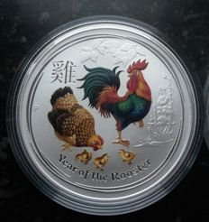 Australia – Dollar 2017 'Year of the Rooster' coloured – 1 oz silver