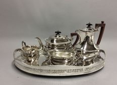 Very beautiful silver plated tea and coffee set, on a serving tray, England, ca. 1920