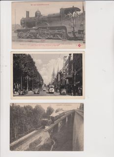 Very good batch of 50 old postcards of train and tramway stations of France and Europe