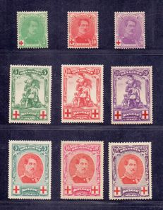 Belgium 1914 - 3 series Red Cross: Statue de Mérode and Albert I - OBP 126 up to and including 134