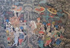 Acrylic on canvas - Balinese scene - I Wayan Urip - Bali - Indonesia - Second half 20th century