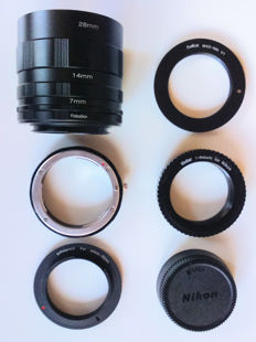 Nikon F extension tubes Nikon F up to and including 52 mm reversing ring for macro photography, Nikon F M42 adapter T2 to Nikon F adapter