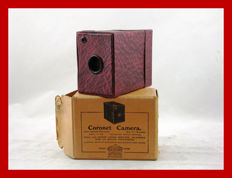 Small cardboard Coronet box camera from approximately 1929