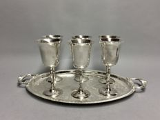 Six silver plated wine goblets on a silver plated presenting tray, England, ca. 1955
