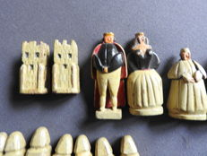 Wood carved and painted 19th century chess pieces