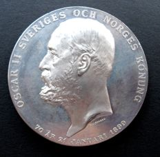 Sweden - Medal (1899) '70th Birthday King Oscar II' by A. Lindberg - tin