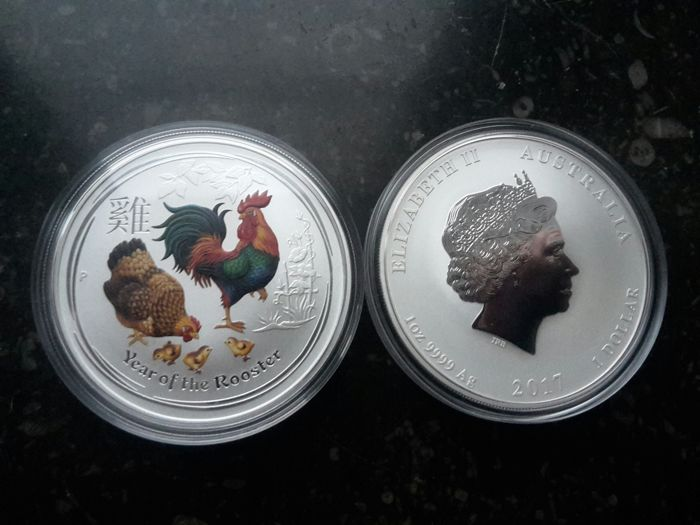 Australië - 1 Dollar 2017 'Year of the Rooster' Kleur - 1 oz zilver
