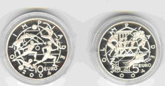 San Marino - 5 and 10 euro 2003/2005, lot of coins from the San Mario Olympic Games collection 2003-2005 Greece - Italy - silver