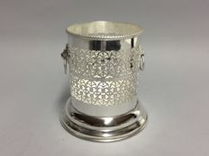 Silver plated holder for wine bottles, beautiful open worked edge, Sheffield, England, ca 1935
