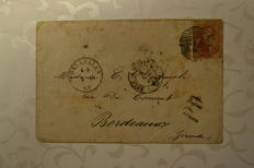 Belgium 1860 - Envelope sent from Brussels to Bordeaux - 'Medallions 40c'